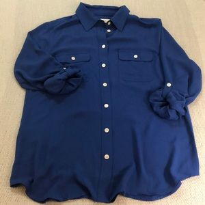LOFT cobalt blue button down blouse S